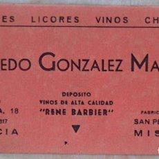 Coleccionismo Papel secante: PAPEL SECANTE ALFREDO GONZALEZ MATAIX, ALCOHOLES, LICORES, VINOS, CHAMPAÑ, VALENCIA, MISLATA,BARBIER. Lote 133568286