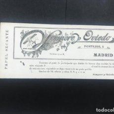 Coleccionismo Papel secante: ANTIGUO PAPEL SECANTE SEMPERE Y OVIEDO, A. DE MERCERIA, PASAMANERIA, PONTEJOS,5 MADRID. Lote 133895586