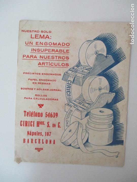Coleccionismo Papel secante: Papel Secante - Publicidad - Precintos Cirici Hnos - Papel Engomado - Años 30 - Foto 3 - 135293994