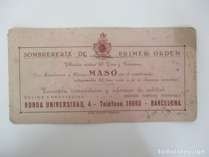 PAPEL SECANTE SUPERIOR - SOMBRERÍA GOMAS MASÓ, MARCAS DE DISTINCIÓN - AÑOS 30 (Coleccionismo - Papel Secante)