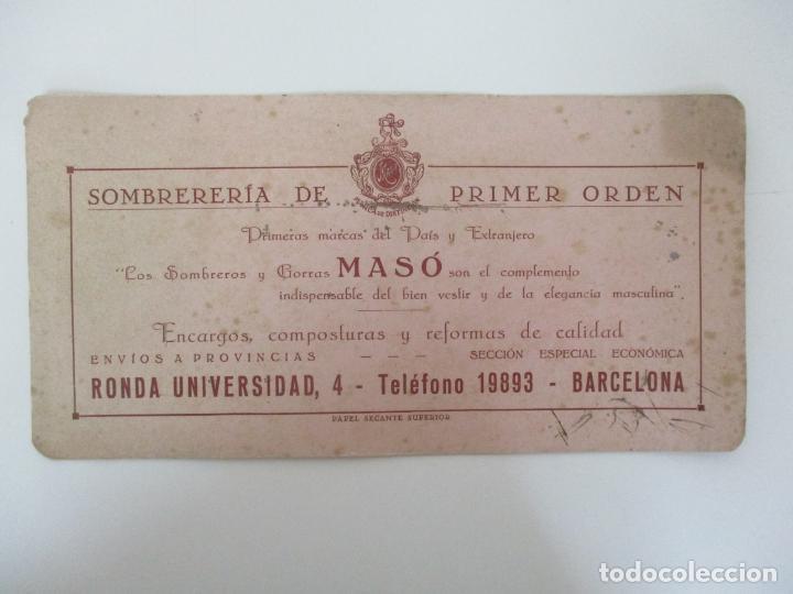 Coleccionismo Papel secante: Papel Secante Superior - Sombrería Gomas Masó, Marcas de Distinción - Años 30 - Foto 3 - 135294642