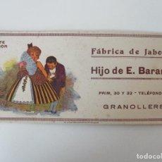 Coleccionismo Papel secante: PAPEL SECANTE SUPERIOR - FÁBRICA DE JABONES HIJO DE E. BARANGÉ, GRANOLLERS - AÑOS 30. Lote 135294942