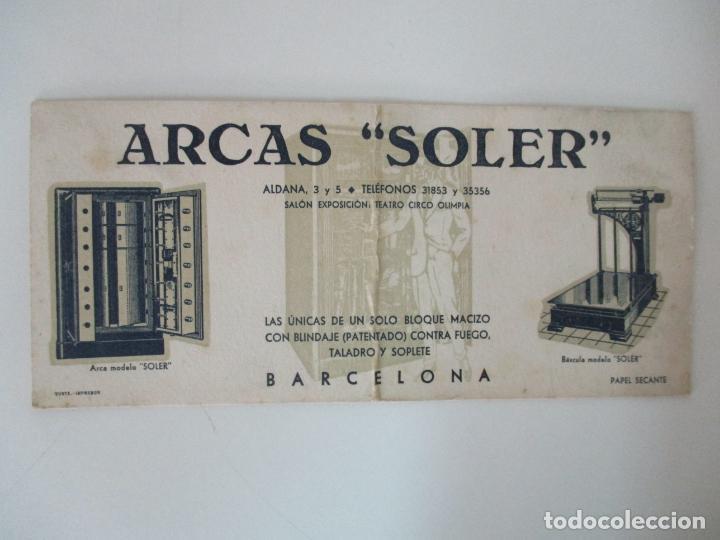 PAPEL SECANTE - PUBLICIDAD ARCAS SOLER, BARCELONA - ARCAS Y BASCULAS - AÑOS 30 (Coleccionismo - Papel Secante)