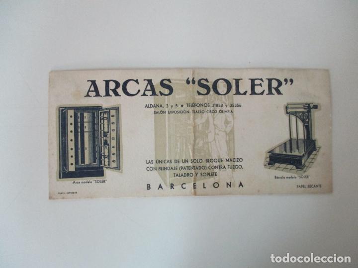 Coleccionismo Papel secante: Papel Secante - Publicidad Arcas Soler, Barcelona - Arcas y Basculas - Años 30 - Foto 2 - 135392806