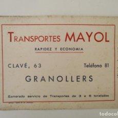 Coleccionismo Papel secante: PAPEL SECANTE - PUBLICIDAD TRANSPORTES MAYOL, GRANOLLERS. Lote 135637835