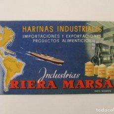 Coleccionismo Papel secante: PAPEL SECANTE - PUBLICIDAD HARINAS INDUSTRIALES - RIERA MARSÁ. Lote 135638307