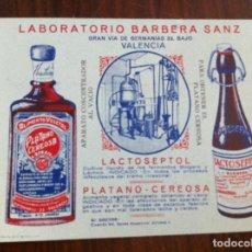Coleccionismo Papel secante: PAPEL SECANTE LACTOSEPTOL Y PLÁTANO CEREOSA. LABORATORIO BARBERÁ SANZ. BARCELONA. FARMACIA. Lote 135711379
