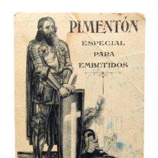 Coleccionismo Papel secante: PAPEL SECANTE PIMENTON EL CID JESÚS CANO. ESPINARDO MURCIA AÑOS 50 . Lote 136652502
