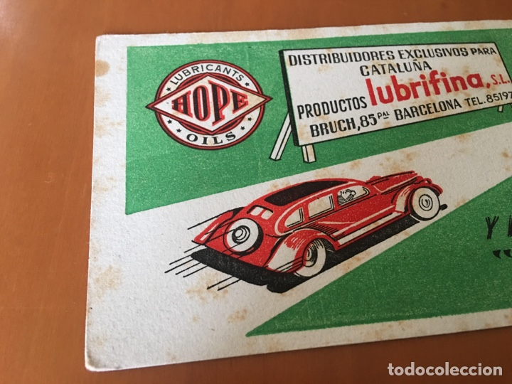 Coleccionismo Papel secante: PAPEL SECANTE PRODUCTOS PARA EL COCHE LUBRIFINA, LUBRICANTS OILS HOPE (BARCELONA) - Foto 2 - 136828665