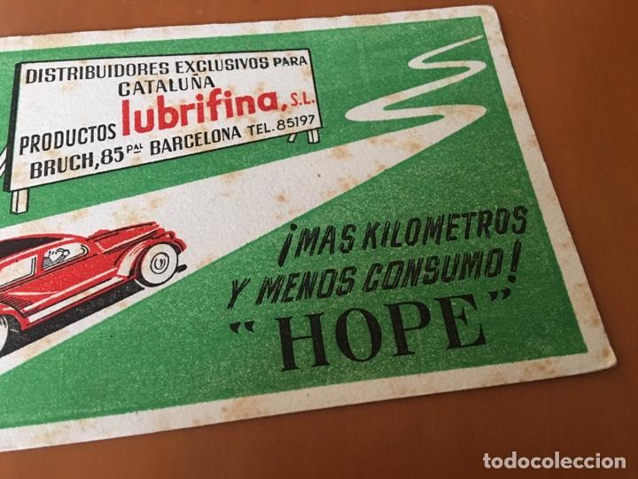 Coleccionismo Papel secante: PAPEL SECANTE PRODUCTOS PARA EL COCHE LUBRIFINA, LUBRICANTS OILS HOPE (BARCELONA) - Foto 3 - 136828665