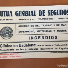 Coleccionismo Papel secante: PAPEL SECANTE MUTUA GENERAL DE SEGUROS INCENDIOS (BADALONA MANRESA). Lote 136830946