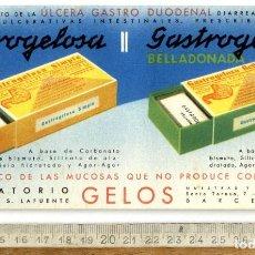 Coleccionismo Papel secante: FARMACIA BARCELONA GELOS GASTROGELOSA SIMPLE-BELLADONADA AÑOS CUARENTA . Lote 138685398