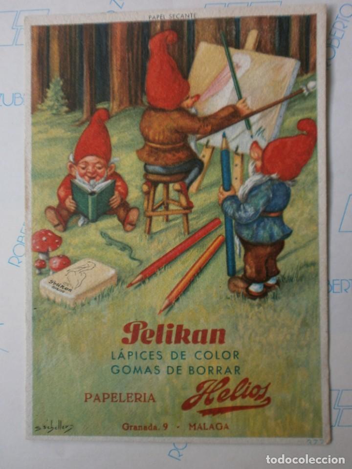 PAPEL SECANTE PELIKAN 377 CON SELLO PAPELERIA HELIOS MALAGA NUEVO (Coleccionismo - Papel Secante)
