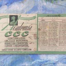 Coleccionismo Papel secante: ACADEMIA CCC PAPEL SECANTE TARJETA POSTAL 1945 SAN SEBASTIÁN. Lote 142764054