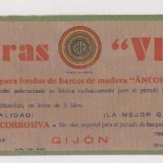 Coleccionismo Papel secante: PAPEL SECANTE PUBLICITARIO. PINTURAS VEAR, GIJÓN, ASTURIAS.. Lote 143044310