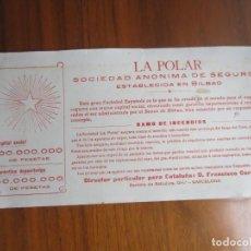 Coleccionismo Papel secante: PAPEL SECANTE-LA POLAR SEGUROS-. Lote 144605986