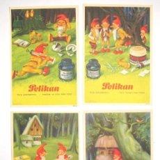 Coleccionismo Papel secante: 4 PAPELES ANTIGUOS SECANTES DE TINTA PELIKAN PAPEL SECANTE . Lote 145231022
