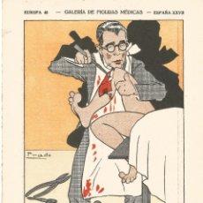 Coleccionismo Papel secante: DIBUJO CARICATURA FIGURA MEDICAS FARMACIA ORIGINAL 1933 DR SEVERO FIGUEROLA MEDICO BARCELONA. Lote 145804178