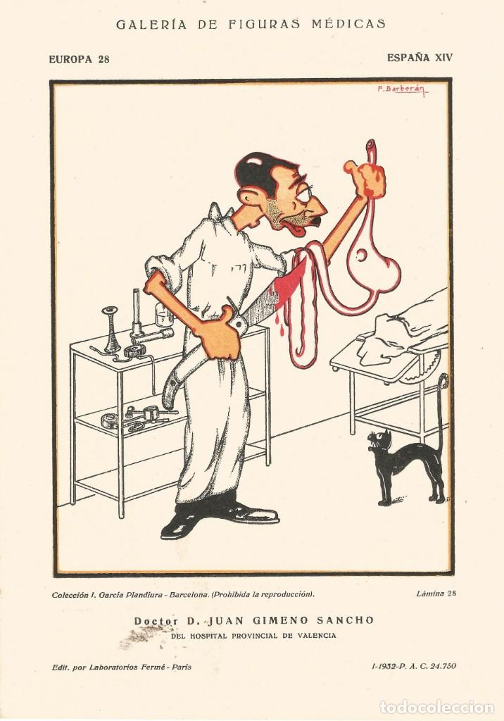 PAPEL SECANTE CARICATURA FIGURA MEDICO FARMACIA ORIGINAL 1932 DR D. J. GIMENO SANCHO VALENCIA (Coleccionismo - Papel Secante)