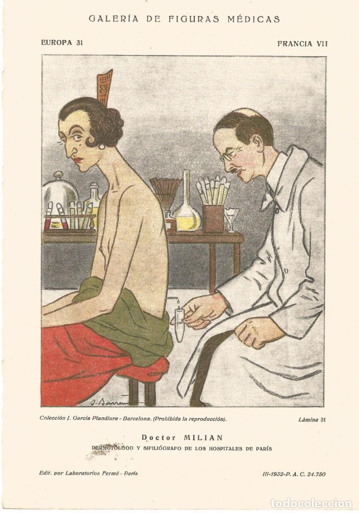 SECANTE GALERIA DE FIGURAS MEDICAS CARICATURA DE 1932 DOCTOR MILIAN COLECCION GARCIA PLANDIURA (Coleccionismo - Papel Secante)