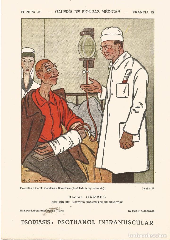 SECANTE GALERIA FIGURAS MEDICAS CARICATURA 1932 DR CARREL CIRUJANO DEL INT ROCKFELLER NEW YORK (Coleccionismo - Papel Secante)