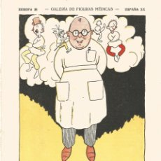 Coleccionismo Papel secante: SECANTE GALERIA FIGURAS MEDICAS CARICATURA 1932 DR J. SANCHEZ BANUS HOSPITAL GENERAL DE MADRID. Lote 145850206