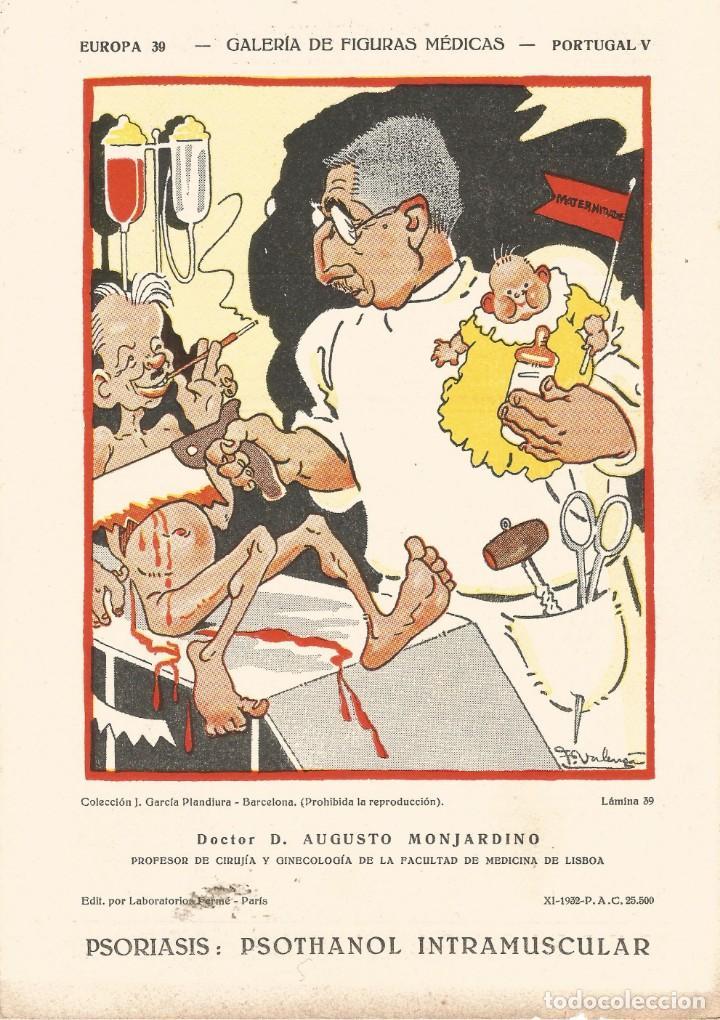 SECANTE GALERIA DE FIGURAS MEDICAS CARICATURA 1932 DOCTOR AUGUSTO MONJARDINO CIRUJANO DE LISBOA (Coleccionismo - Papel Secante)
