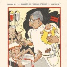 Coleccionismo Papel secante: SECANTE GALERIA DE FIGURAS MEDICAS CARICATURA 1932 DOCTOR AUGUSTO MONJARDINO CIRUJANO DE LISBOA. Lote 145850626