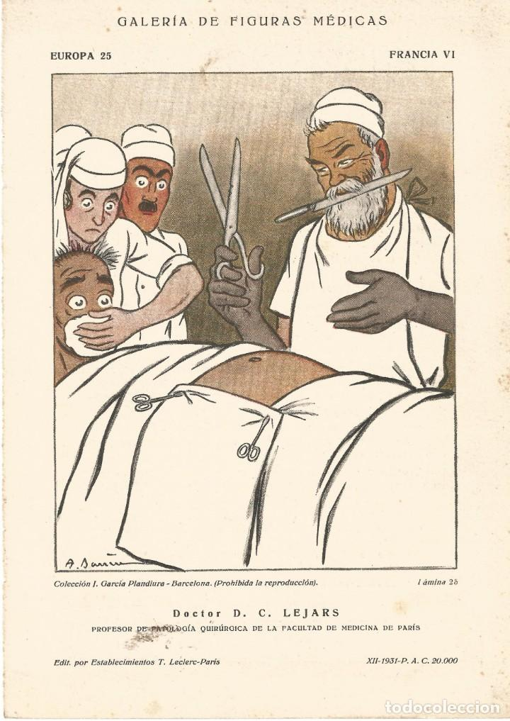 SECANTE GALERIA FIGURAS MEDICAS CARICATURA 1931 DR D. C. LEJARS MEDICO FACULTAD DE MEDICINA PARIS (Coleccionismo - Papel Secante)