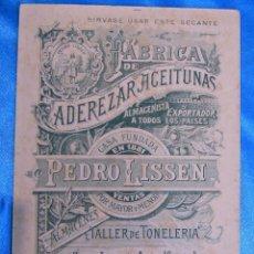 Coleccionismo Papel secante: PAPEL SECANTE NARANJA. FÁBRICA DE ADEREZAR ACEITUNAS PEDRO LISSEN. SAN JUAN DE AZNALFARACHE, SEVILLA. Lote 151080074