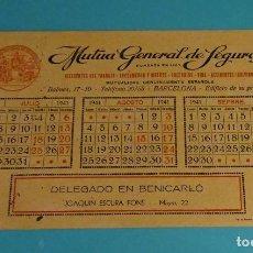 Coleccionismo Papel secante: PAPEL SECANTE PUBLICIDAD MUTUA GENERAL DE SEGUROS. TERCER TRIMESTRE 1941. DELEGADO BENICARLÓ. Lote 153249294