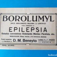 Collectionnisme Papier buvard: PAPEL SECANTE PUBLICIDAD DE FARMACIA. BOROLUMYL, PARA COMBATIR LA EPILEPSIA. PUBLICIDAD DE FARMACIA. Lote 158163314