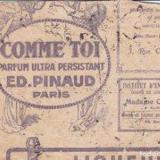 Coleccionismo Papel secante: COMME TOI PARFUM ULTRA PERSISTANT ED. PINAUD PARIS FRANCIA. Lote 161820302