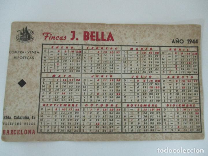 PAPEL SECANTE - PUBLICIDAD FINCAS J. BELLA, BARCELONA - CALENDARIO AÑO 1944 (Coleccionismo - Papel Secante)