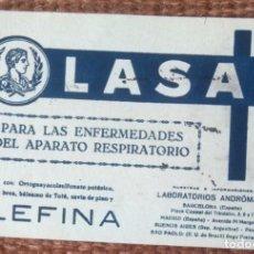 Collezionismo Carta assorbente: LASA - LABORATORIOS ANDROMACO - BARCELONA. Lote 163024554