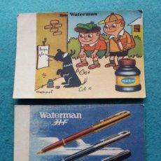 Coleccionismo Papel secante: LOTE DE 2 SECANTES PUBLICIDAD DE WATERMAN. TINTA Y PLUMAS.. Lote 164220042