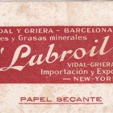 Coleccionismo Papel secante: PAPEL SECANTE LUBROIL VER FOTO ADICIONAL . Lote 166804106