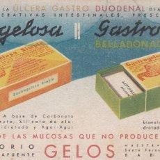 Coleccionismo Papel secante: PAPEL SECANTE GASTROGELOSA LABORATORIOS GELOS VER FOTO ADICIONAL. Lote 166806778