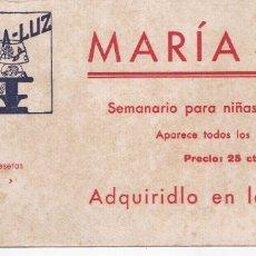 Coleccionismo Papel secante: PAPEL SECANTE MARIA - LUZ SEMANARIO PARA NIÑAS Y SEÑORITAS VER FOTO ADICIONAL. Lote 166807422
