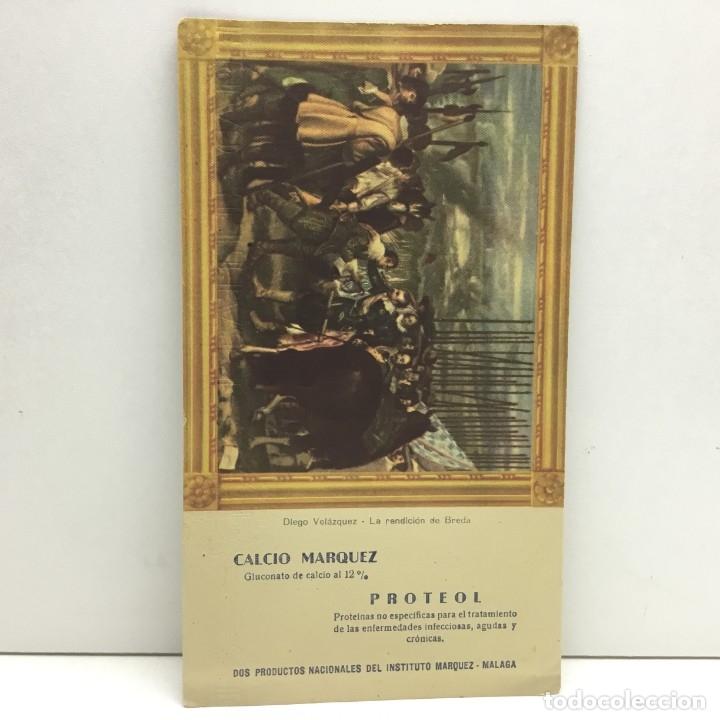 PAPEL SECANTE CALCIO MARQUEZ - PROTEOL - PRODUCTOS NACIONALES DEL INSTITUTO MARQUEZ - MALAGA (Coleccionismo - Papel Secante)