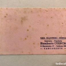 Coleccionismo Papel secante: CARCAGENTE (VALENCIA) PAPEL SECANTE. PUBLICIDAD: CASA BALDOMERO CUENCA. IMPRENTA PAPELERÍA (H.1950?). Lote 173528183