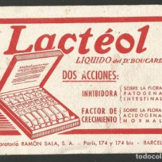 Coleccionismo Papel secante: LACTEOL-PAPEL SECANTE PUBLICITARIO-MIDE 14 X 10.5 CM-VER REVERSO-(V-17.401). Lote 173811394