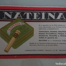 Coleccionismo Papel secante: ANTIGUO PAPEL SECANTE NATEINA LABORATORIO LLOPIS , LEER DESCIPCION. Lote 173930905