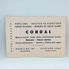Coleccionismo Papel secante: PAPEL SECANTE CONDAL - PAPELERIA - OBJECTOS DE ESCRITORIO - BARCELONA . Lote 174242434