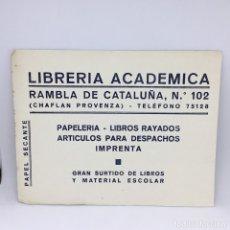 Coleccionismo Papel secante: PAPEL SECANTE LIBRERIA ACADEMICA - RAMBLA CATALUÑA - BARCELONA (2). Lote 174242809