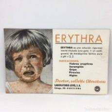 Coleccionismo Papel secante: PAPEL SECANTE ERYTHRA - DOCTOR SOLICITE LITERATURA - LABORATORIO LEVEL S.A - BARCELONA . Lote 174242917