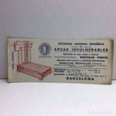 Coleccionismo Papel secante: PAPEL SECANTE SOCIEDAD ANONIMA ESPAÑOLA - ARCAS INVULNERABLES - BARCELONA. Lote 174270729