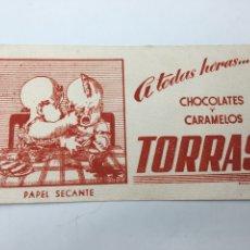 Collezionismo Carta assorbente: PAPEL SECANTE DE CHOCOLATES Y CARAMELOS TORRAS MUY RARO Y EN PERFECTAS CONDICIONES. Lote 175513012