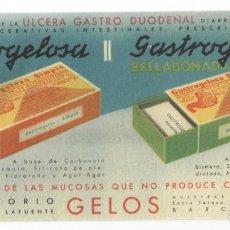 Coleccionismo Papel secante: SECANTE ANTIGUO / LABORATORIO GELOS (BARCELONA) - GASTROGELOSA SIMPLE - BELLADONADA. Lote 178380197