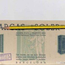 Coleccionismo Papel secante: ARCAS SOLER BARCELONA CAJAS FUERTE . Lote 178755080